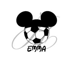 Soccer ball clipart disney graphic freeuse library Soccer Ball Mickey Mouse Ears Printable Iron On Transfer or Use as ... graphic freeuse library