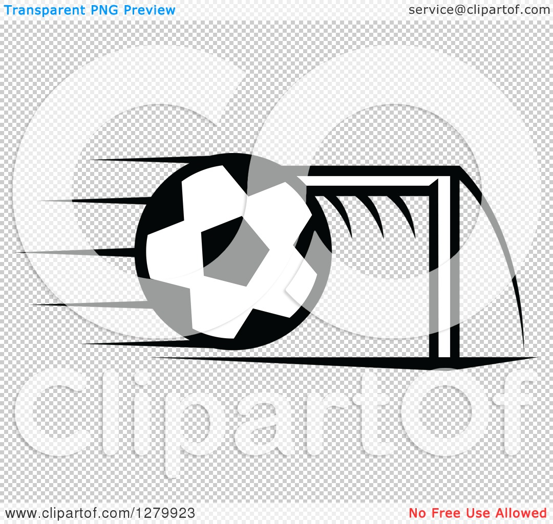 Soccer ball clipart goal banner freeuse download Clipart of a Black and White Flying Soccer Ball and Goal Net ... banner freeuse download