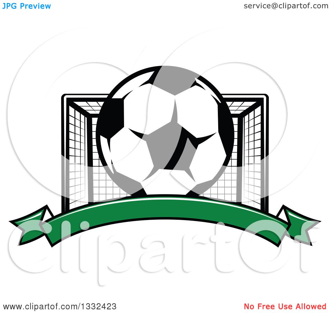 Soccer ball clipart goal clipart royalty free library Clipart of a Soccer Ball and Goal Net over a Blank Green Banner ... clipart royalty free library
