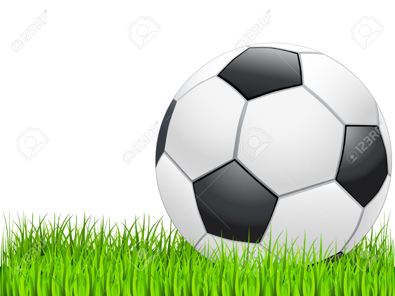 Soccer ball clipart green vector royalty free library Soccer Ball On Green Grass Royalty Free Cliparts, Vectors, And ... vector royalty free library