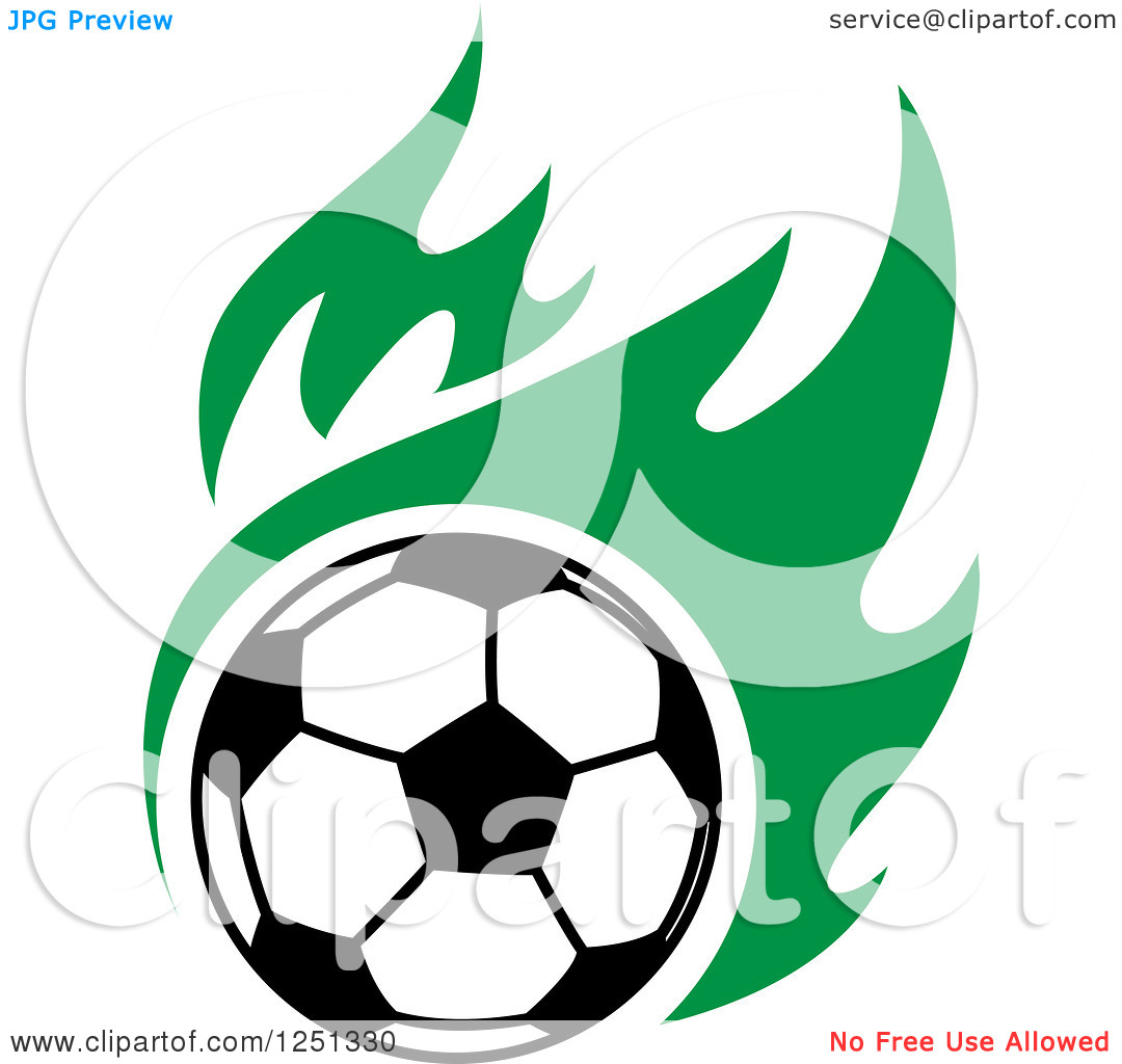 Soccer ball clipart green picture free download Clipart of a Soccer Ball and Green Flames - Royalty Free Vector ... picture free download