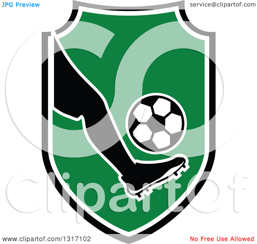 Soccer ball clipart green jpg royalty free Clipart of a Soccer Ball Player's Foot Kicking a Ball in a Shield ... jpg royalty free
