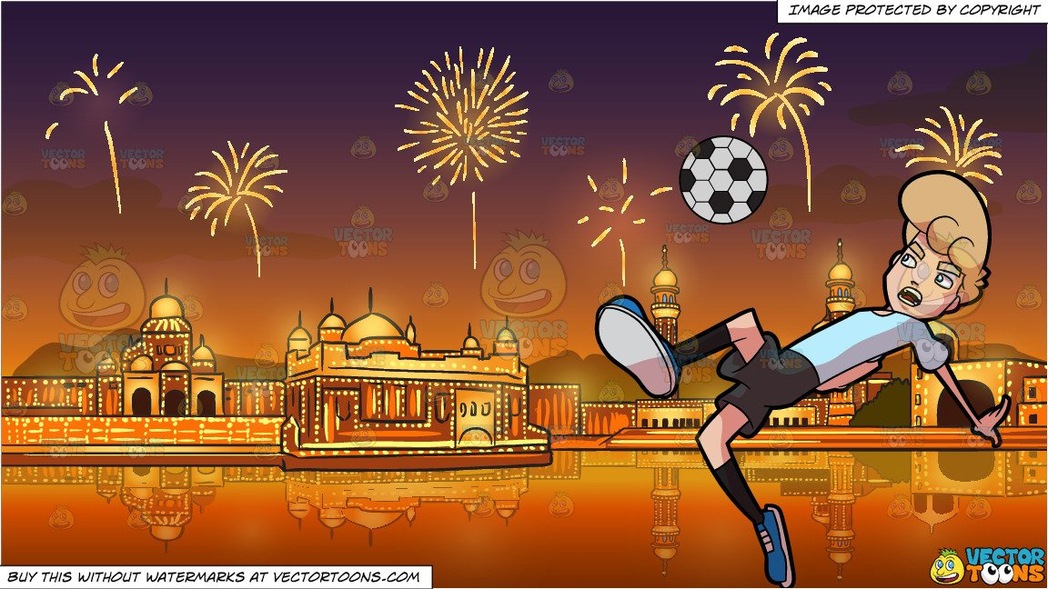Soccer ball firecracker clipart black and white stock A Man Jumps And Leans Down To Kick A Soccer Ball and Fireworks Display  Celebrating Diwali Background black and white stock