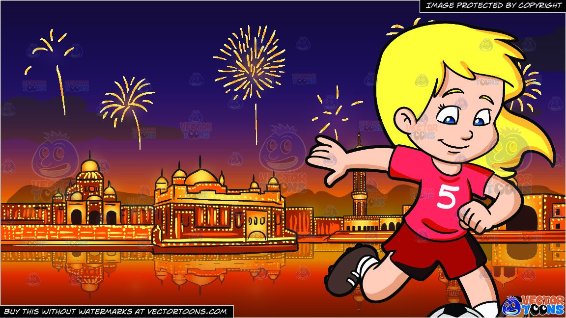 Soccer ball firecracker clipart picture freeuse library A Girl Kicking A Soccer Ball and Fireworks Display Celebrating Diwali  Background picture freeuse library