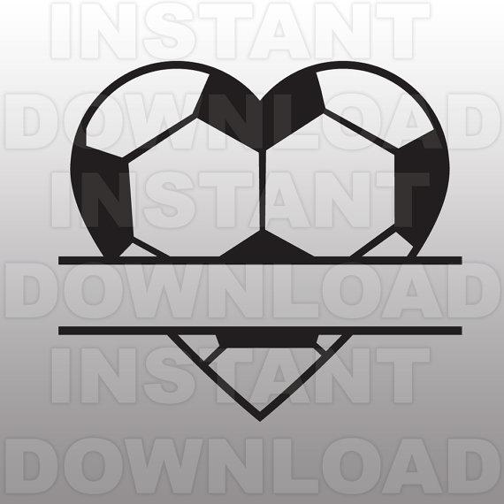 Soccer ball heart clipart graphic black and white library Soccer Ball Heart Split Monogram SVG File Cutting graphic black and white library