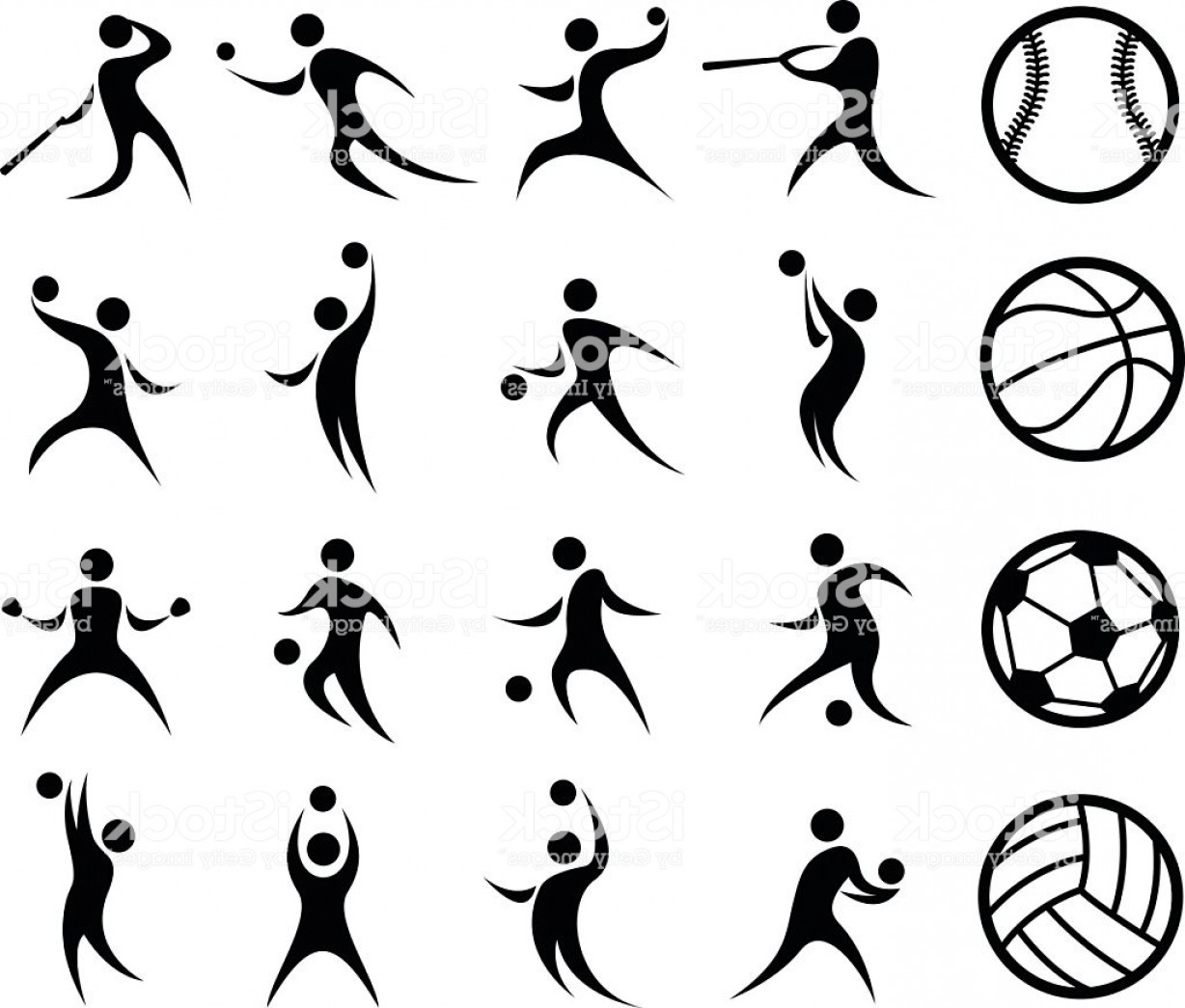 Sports Silhouette Basketball Baseball Soccer Volleyball Gm ... clip free