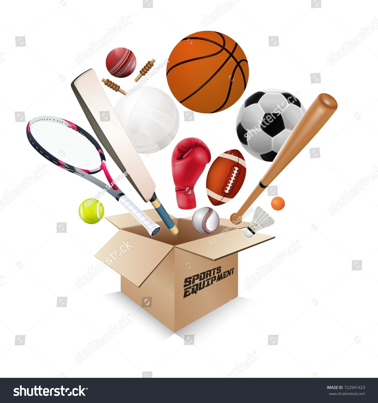 Sports equipment collection out of box with a football ... picture freeuse library