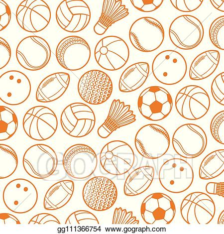 Vector Clipart - Background pattern with sport balls thin ... royalty free stock