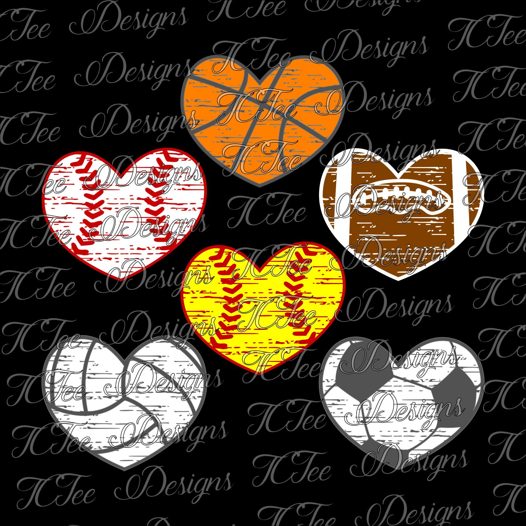Distressed Sports Hearts - Baseball Softball Soccer ... jpg freeuse download