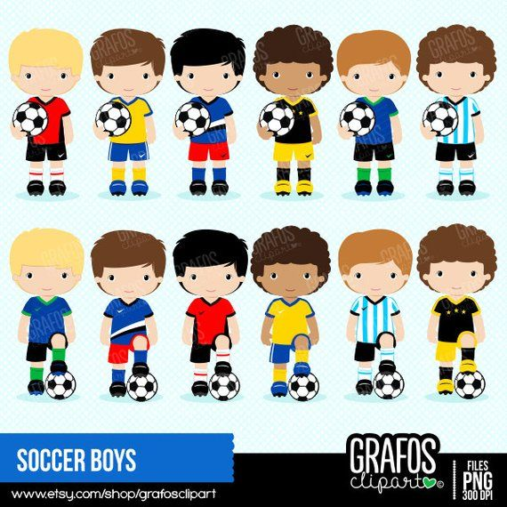 Soccer boy clipart image library SOCCER BOYS - Digital Clipart Set, Soccer Clipart , Play ... image library