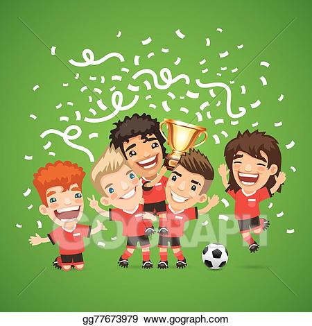 Soccer champion clipart jpg royalty free stock EPS Illustration - Happy soccer champions with winners cup ... jpg royalty free stock