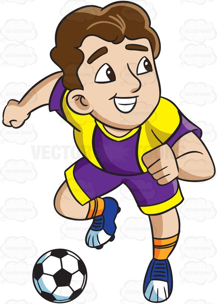 Soccer defending clipart clip black and white stock A male soccer athlete charges to make a goal #cartoon ... clip black and white stock