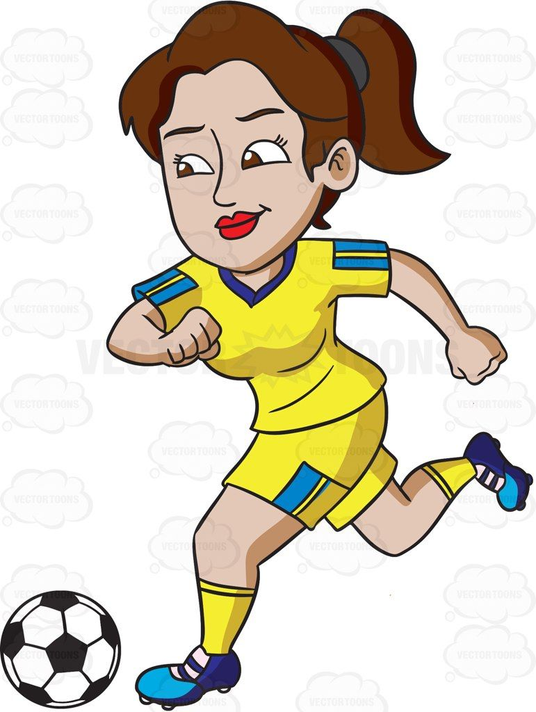 Soccer defending clipart graphic transparent stock A female athlete smiles while kicking a soccer ball #cartoon ... graphic transparent stock