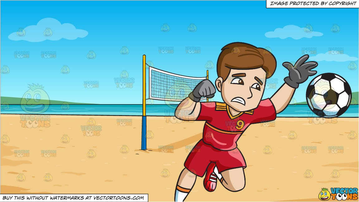 Soccer defending clipart clipart library download A Male Soccer Goal Keeper Defending His Home Goal and Beach Volleyball  Background clipart library download