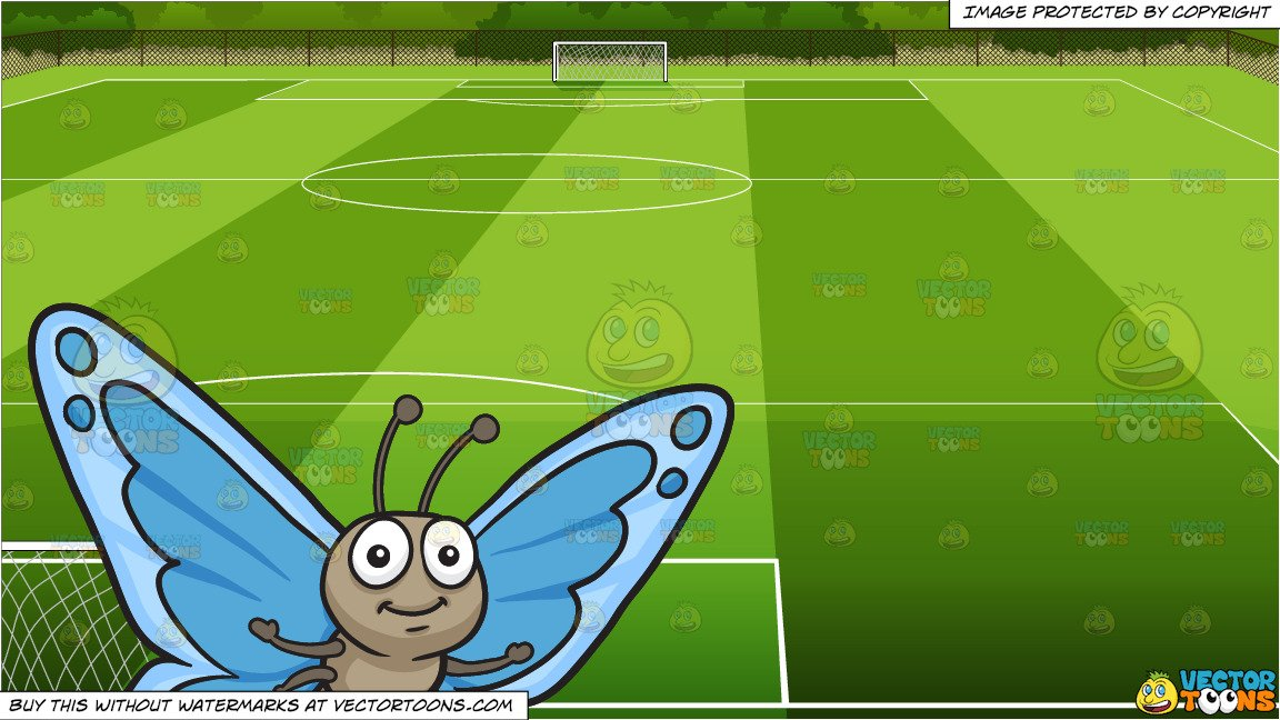 Soccer field background clipart clipart free library A Pretty Butterfly With Blue Wings and Soccer Field Background clipart free library