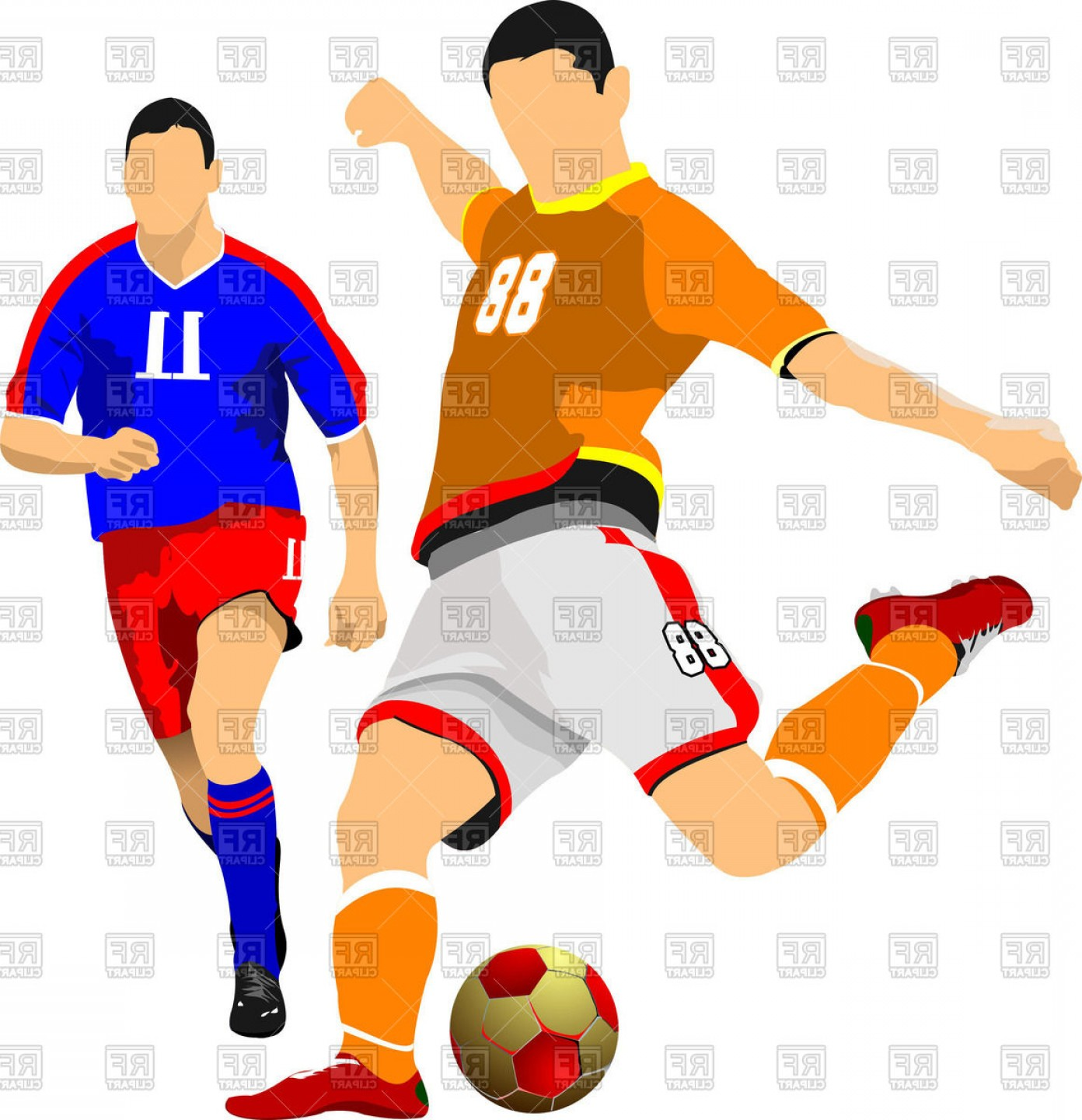 Soccer player pictures clipart jpg transparent stock Two Soccer Players Vector Clipart | SOIDERGI jpg transparent stock