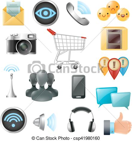Social media cell phone photo clipart clipart black and white library Clip Art Vector of Social Media Symbols Accessories Icons ... clipart black and white library