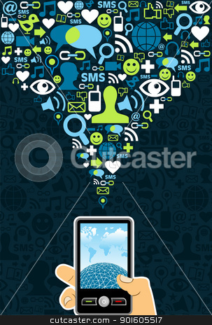 Social media cell phone photo clipart graphic black and white stock Social media cell phone connection stock vector graphic black and white stock