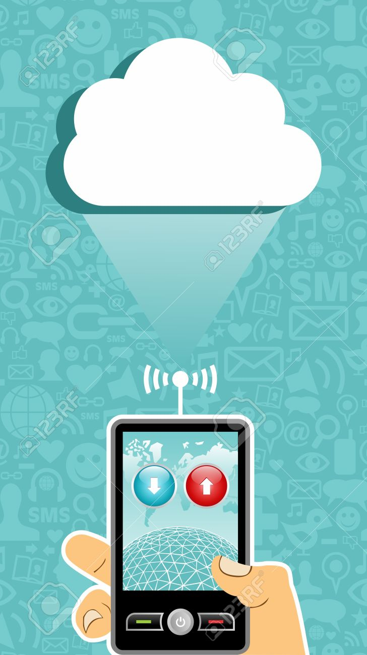 Social media cell phone photo clipart picture black and white Hand Holding A Cell Phone Under One Cloud On Blue Background ... picture black and white