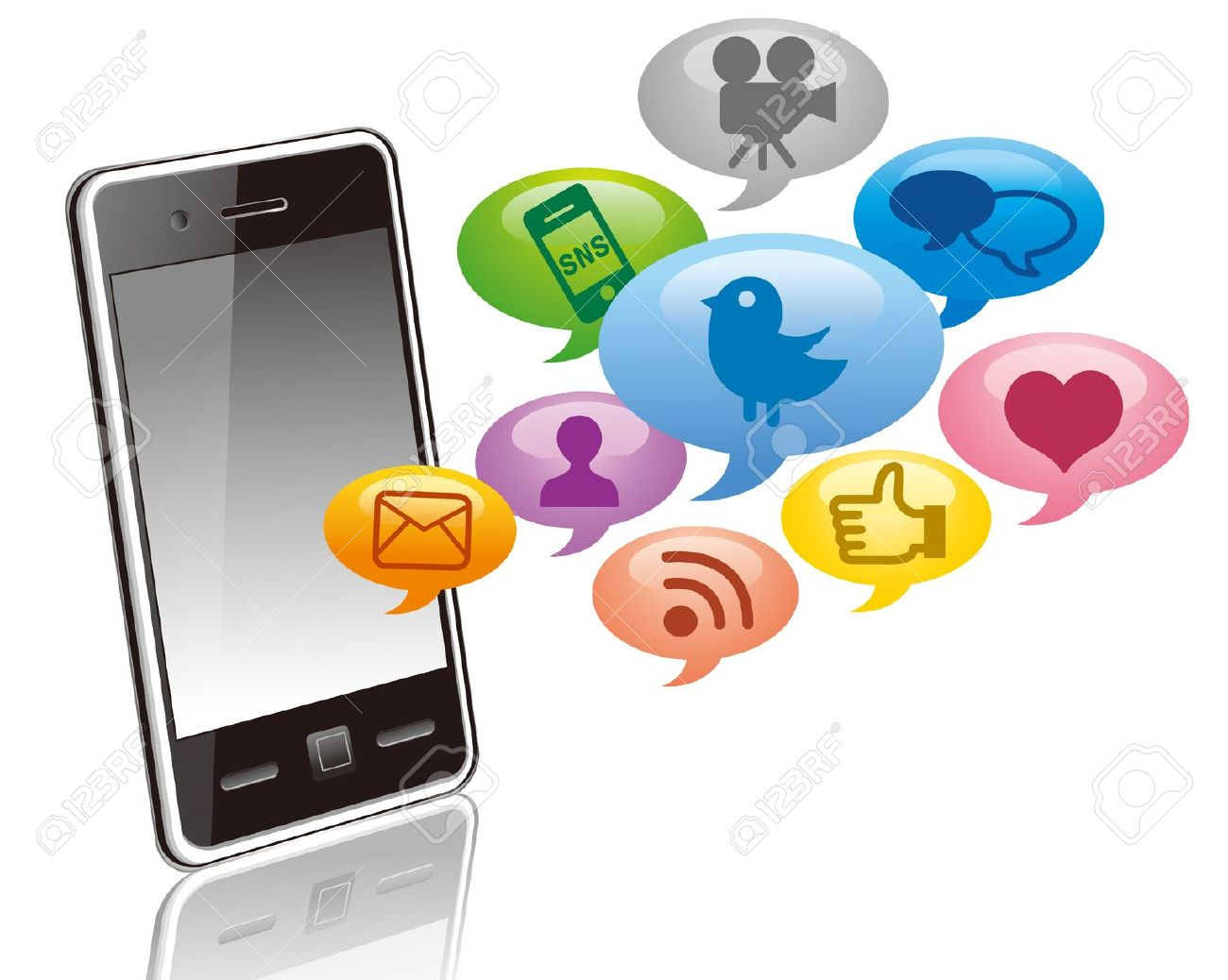 Social media cell phone photo clipart image transparent library Social Media On Smartphone Royalty Free Cliparts, Vectors, And ... image transparent library