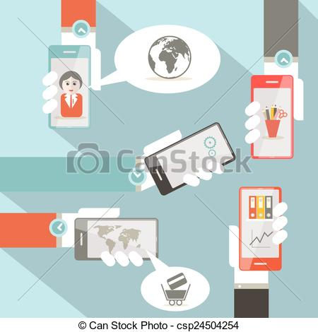 Social media cell phone photo clipart vector black and white library Clipart Vector of Vector Social Media Symbols with Cell Phones in ... vector black and white library