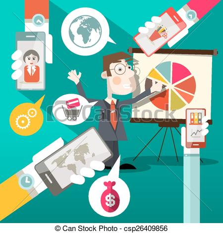 Social media cell phone photo clipart banner royalty free stock Clipart Vector of Businessman with Graph and Cell Phones in Hands ... banner royalty free stock
