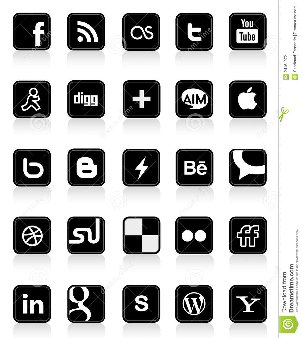 Social media clipart black and white transparent library Social Media Buttons 1 Editorial Photography - Image: 24164972 transparent library