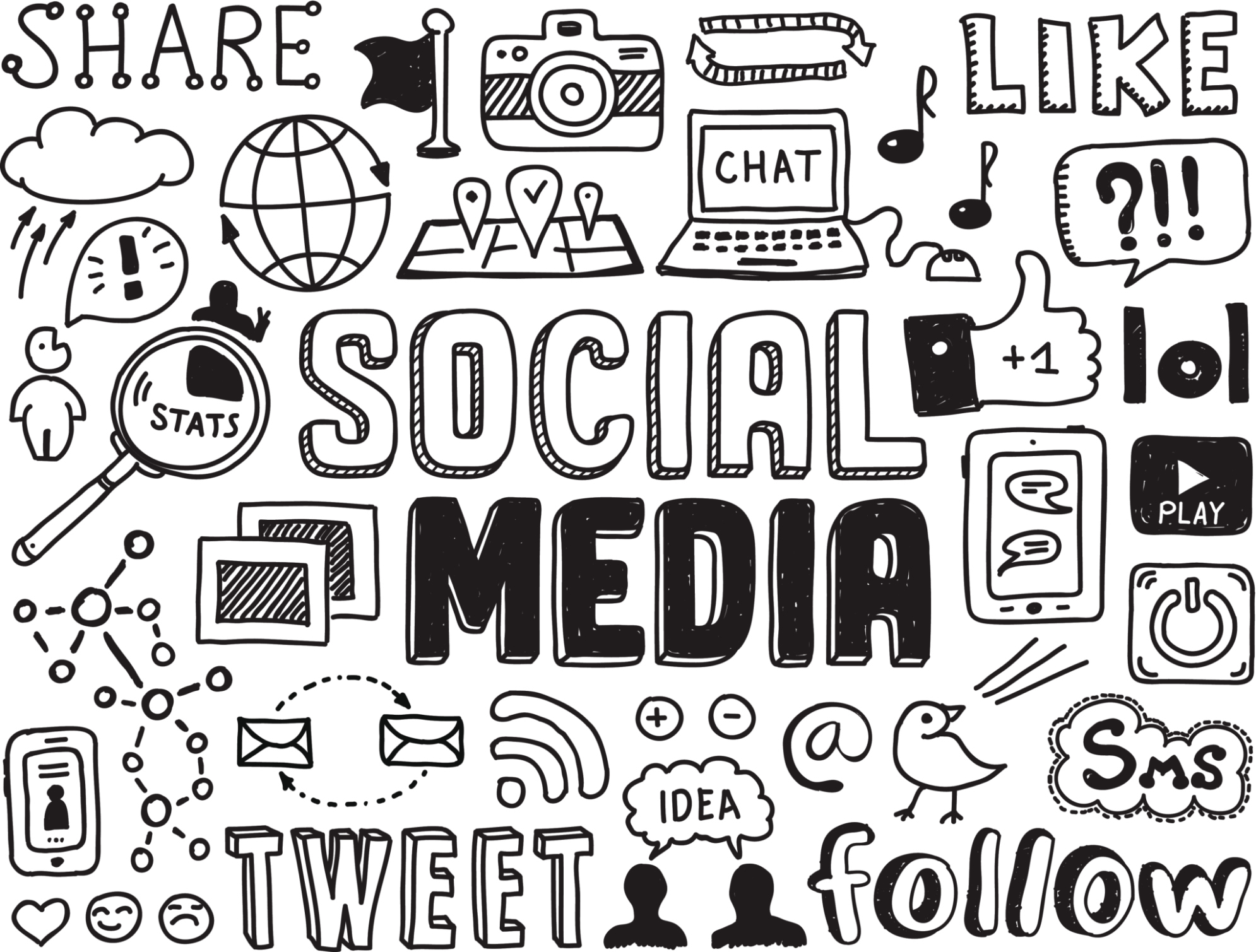 Social media clipart black and white image royalty free library Managing Social Media Clip Art – Clipart Free Download image royalty free library