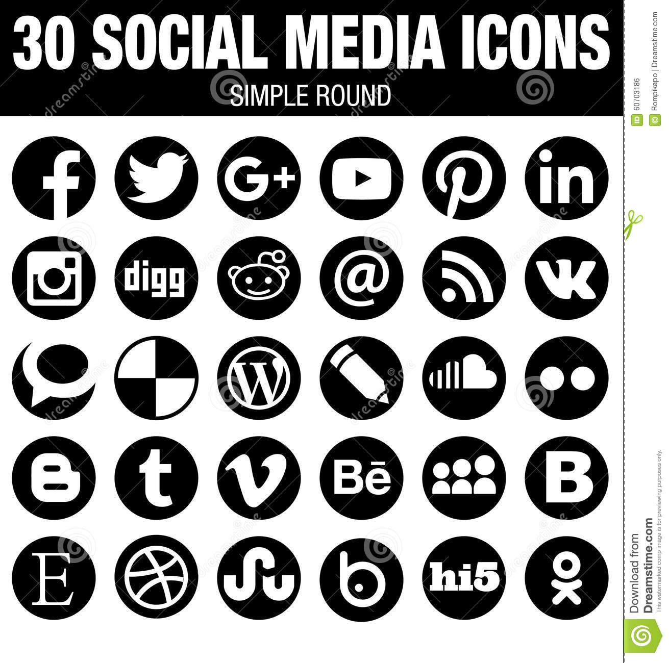 Social media clipart black and white jpg freeuse stock Round Social Media Icons Collection - Black Editorial Photo ... jpg freeuse stock