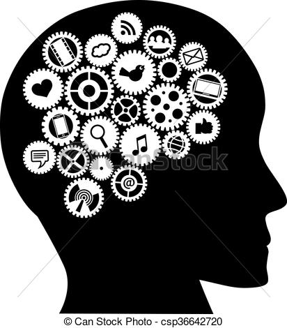 Social media clipart black and white image free download Vector Illustration of Machine gears Human Head with Social Media ... image free download