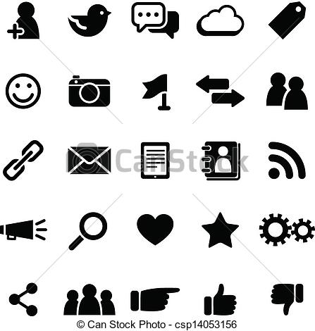 Social media clipart black and white clip art download Clipart Vector of Social Media Icons - Set of social media icons ... clip art download