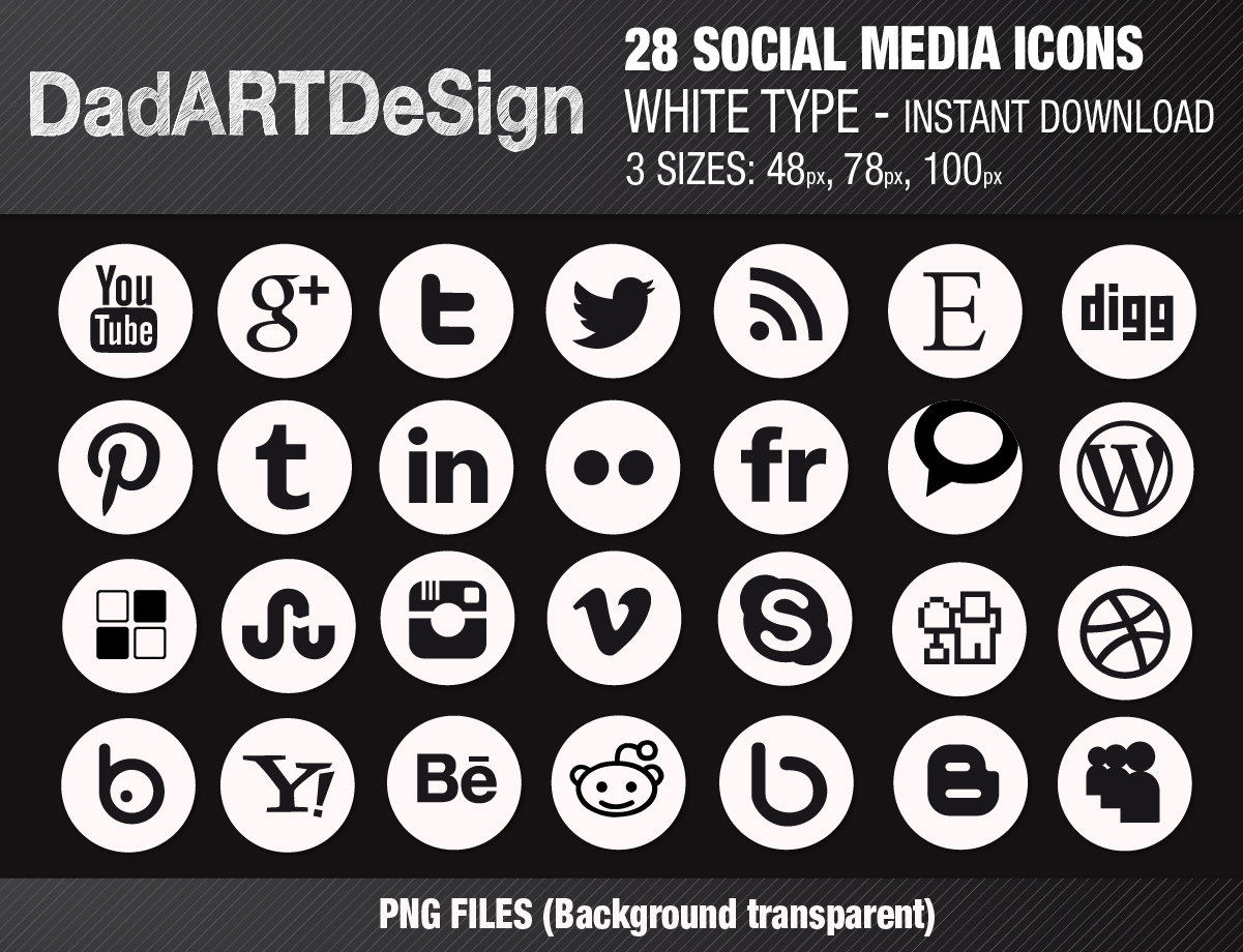 Social media clipart black and white royalty free download 28 SOCIAL MEDIA icons set White Instant Download 3 sizes royalty free download