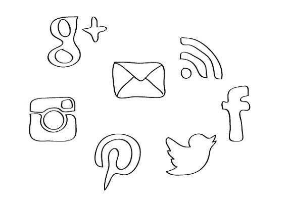 Social media clipart black and white clip transparent library Clipart social media icons - ClipartFest clip transparent library