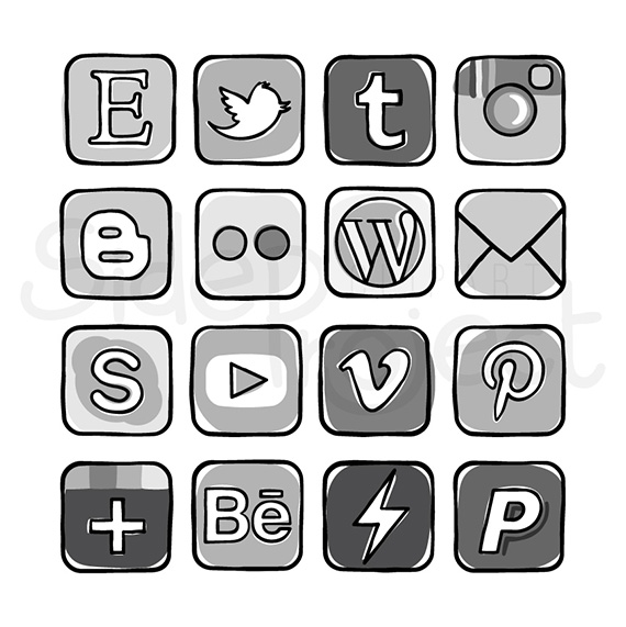 Social media clipart black and white clipart library download Social media clipart black and white - ClipartFest clipart library download