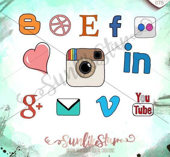 Social media clipart pack clip library Hand Drawn Social Media Icons Pack- Instant Download - Drawing ... clip library