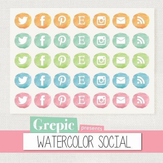 "Social media clipart pack svg free stock Watercolor social media icons: ""WATERCOLOR SOCIAL"" social media ... svg free stock"