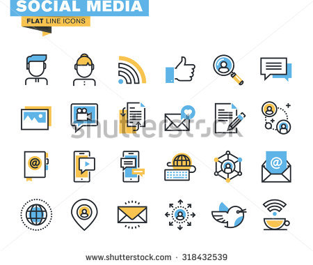 Social media clipart pack jpg library library Trendy Flat Line Icon Pack Designers Stock Vector 318432539 ... jpg library library