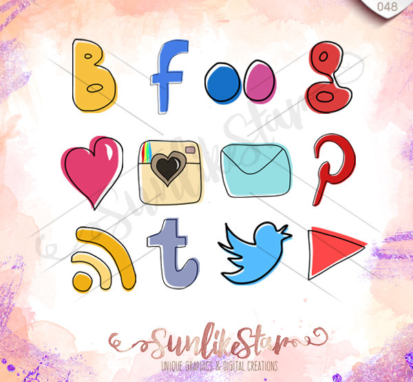 Social media clipart pack banner freeuse library Hand Drawn Social Media Icons Pack- Instant Download - Drawing ... banner freeuse library