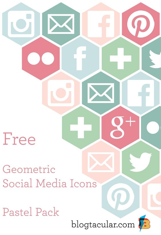 Social media clipart pack banner freeuse download Geometric Social Media Buttons | Hexagons, Pastel and Social media ... banner freeuse download
