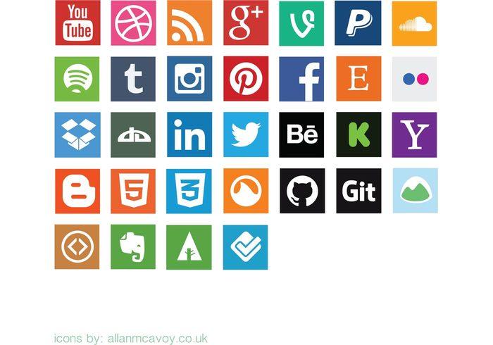 Social media clipart pack banner download Flat Social Media Icon Vector Pack   Free Vector Art at Vecteezy! banner download