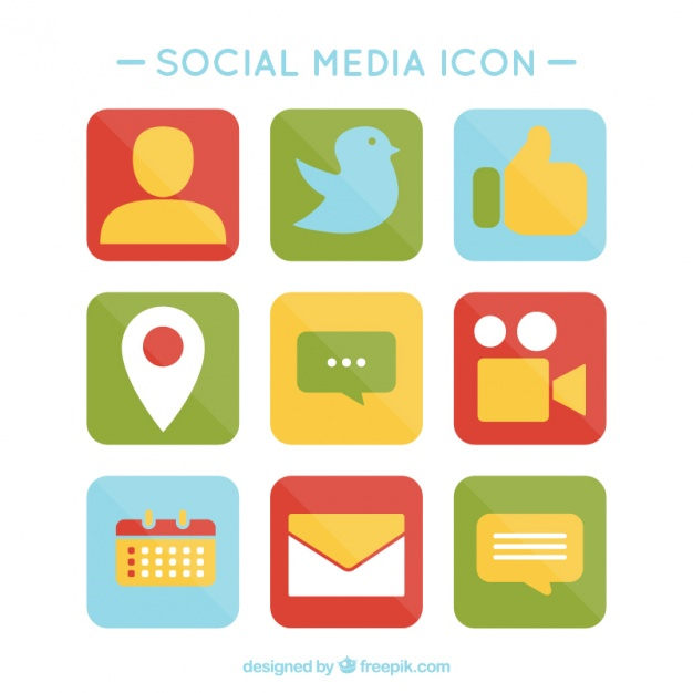 Social media clipart pack png free stock Pack of colored social media icons Vector | Free Download png free stock