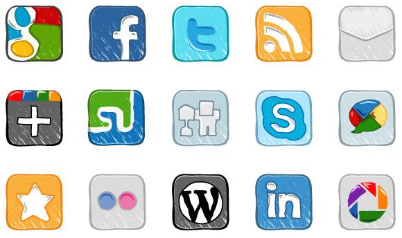 Social media clipart packs png stock 15 Hand Drawn Social Media Icons Vector Pack png stock
