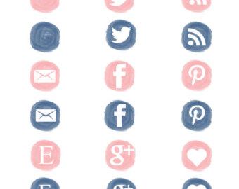 Social media clipart png clip art library Watercolor social – Etsy clip art library