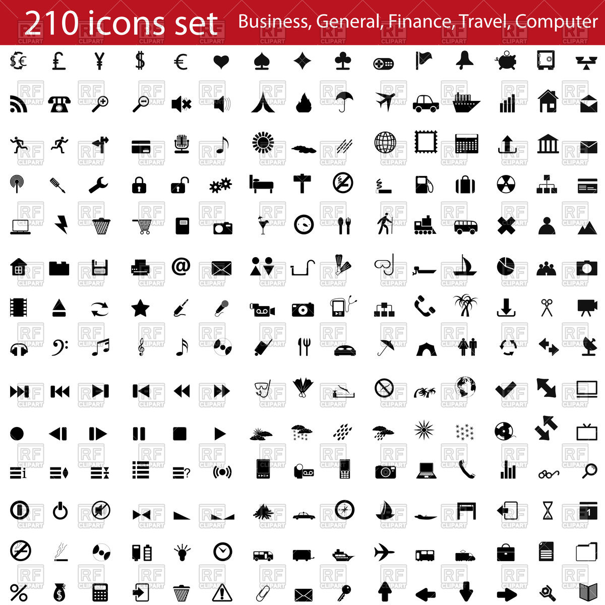 Social media clipart set clip transparent stock Set of colorful business and social media icons Vector Image ... clip transparent stock