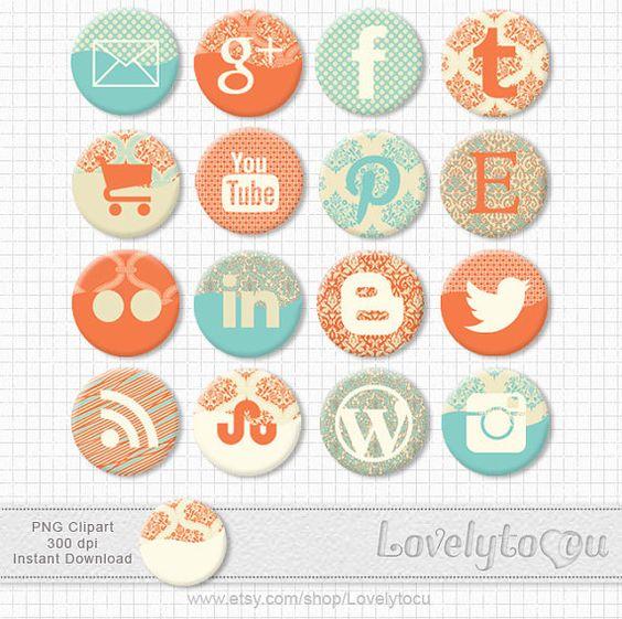 Social media clipart set clipart black and white stock Social media icons set of 16 digital PNG clip art by Lovelytocu ... clipart black and white stock