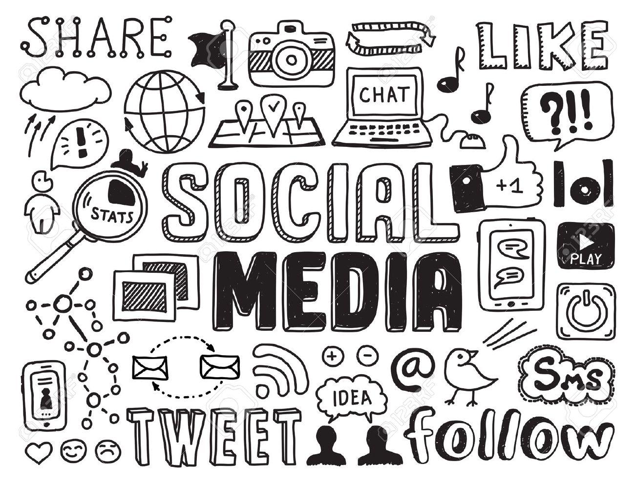 Social media clipart set image stock Social media clipart black and white - ClipartFest image stock