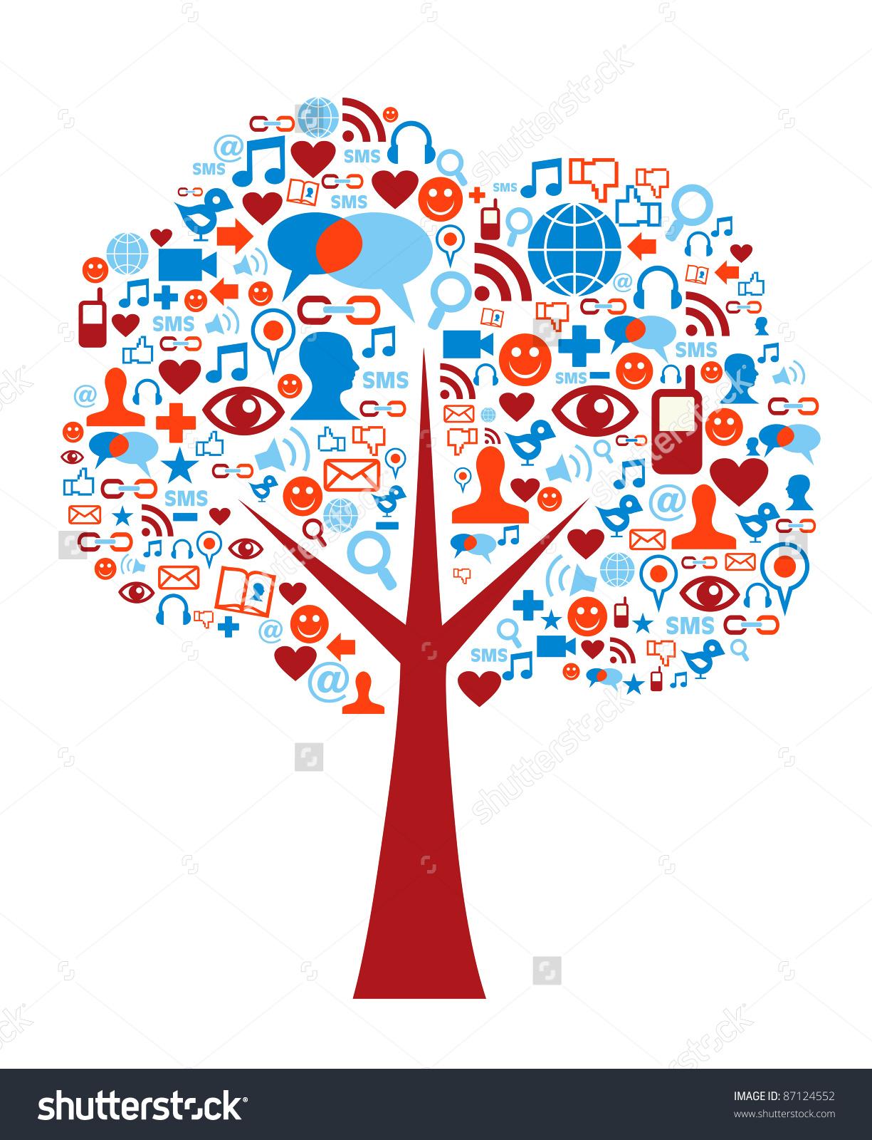 Social media clipart set image black and white stock Social Media Icons Set Tree Shape Stock Illustration 87124552 ... image black and white stock