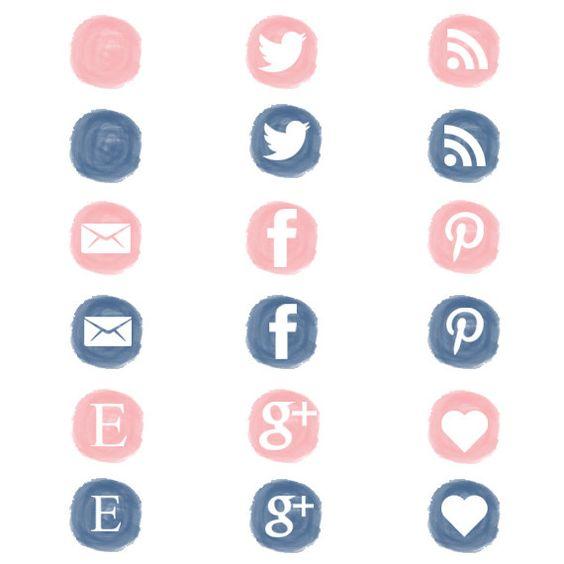 Social media clipart set image library stock Watercolor, social media icons set, social media buttons, social ... image library stock