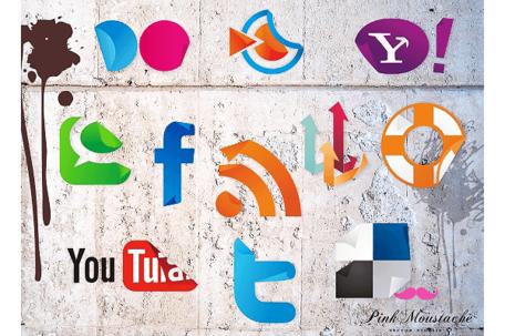 Social media clipart set jpg black and white Free Vector Social Media Icons Sticker Set, Clip Arts - Clipart.me jpg black and white