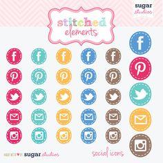 Social media clipart set clipart black and white download Social media icons set of 16 digital PNG clip art by Lovelytocu ... clipart black and white download